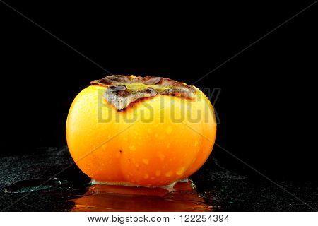 a wet kaki fruit on black background
