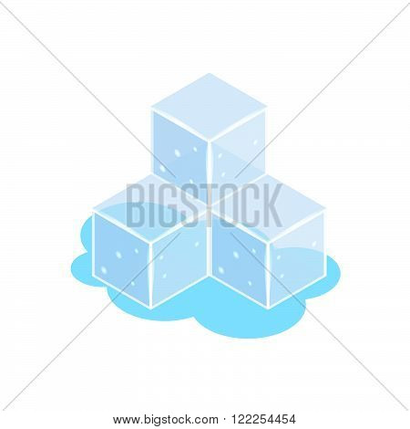 Ice cube icons isometric. Stock vector. Vector illustration.