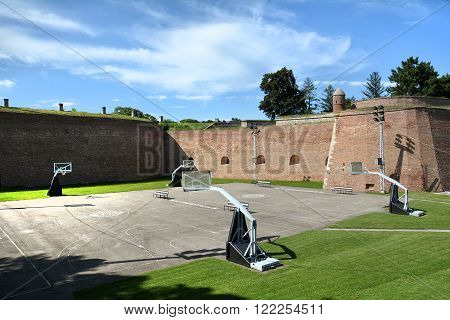 BELGRADE, SERBIA, JULY 2, 2014: Basketball courts inside Belgrade Fortress, the core and the oldest section of the urban area of Belgrade.