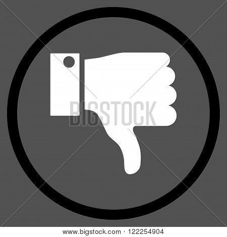 Thumb Down vector bicolor icon. Picture style is flat thumb down rounded icon drawn with black and white colors on a gray background.