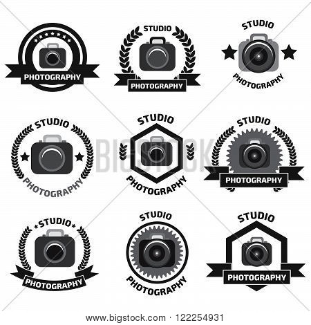 Foto studio logo set. Foto studio emblem. Photo studio logo set.  Fotostudio emblem, logo