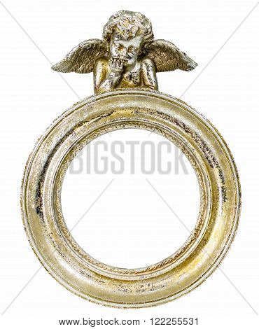 Gilded decorative photo frame with cupid isolated on white background