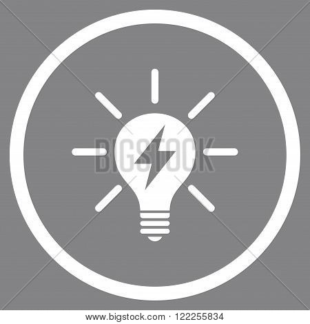 Electric Light Bulb vector icon. Picture style is flat electric light bulb rounded icon drawn with white color on a gray background.