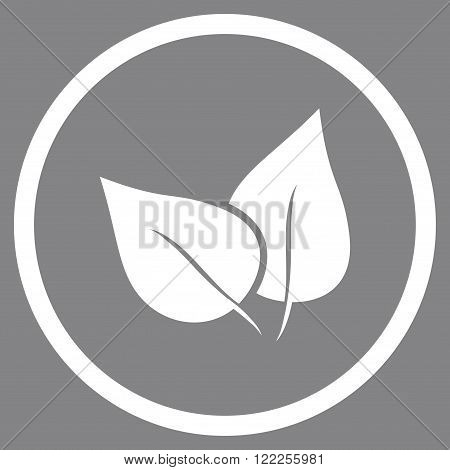 Flora Plant vector icon. Picture style is flat flora plant rounded icon drawn with white color on a gray background.