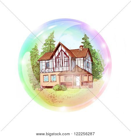 A two-storey house in a bubble. The dream of buying or building a house. Suitable for advertising or mortgage loan. To make the visualization board wishes map. A dream of a cottage. Vacation home. Illustration drawn by hand.