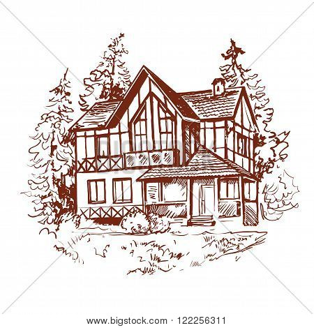 Linear hand drawn sketch of two-storey house with lawn and trees. Illustration of house in alpine style. Brown ink drawing in vintage style.