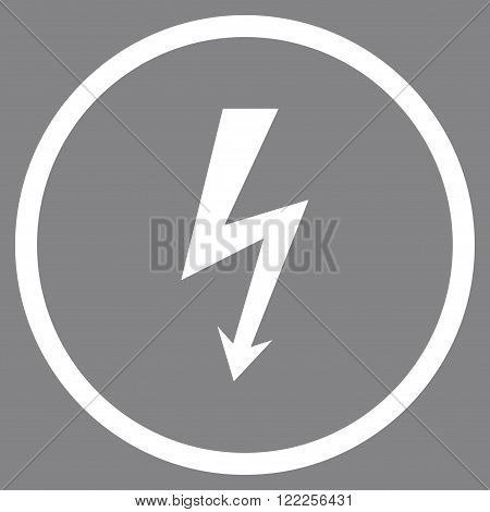 High Voltage vector icon. Picture style is flat high voltage rounded icon drawn with white color on a gray background.
