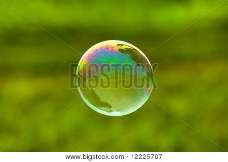 soap bubble on green background