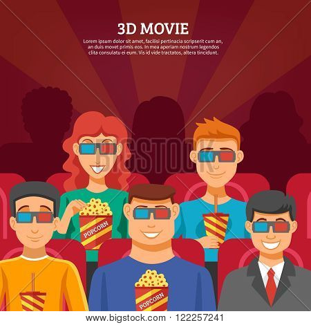 Cinema design concept with viewers watching 3d movie and eating popcorn flat vector illustration