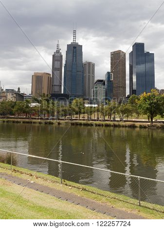 Melbourne - February 23 2016: Beautiful urban landscape of the city Melbourne's Yarra River and the skyscrapers of February 23 2016 Melbourne Australia