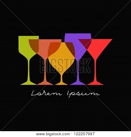 Glasses silhouettes on black background. Differen colors. For restaurant or cafe menu. Can be used as logo.