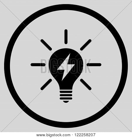 Electric Light Bulb vector icon. Picture style is flat electric light bulb rounded icon drawn with black color on a light gray background.