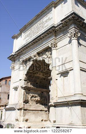 Triumphal Arc At Roman Forum In Rome, Italy
