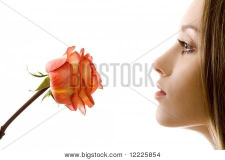 beautiful woman with rose sideview isolated