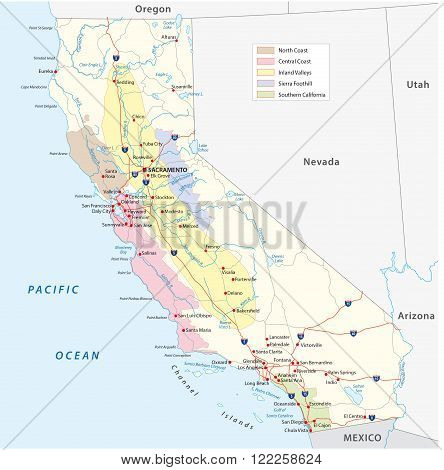 detailed map of California's wine growing areas