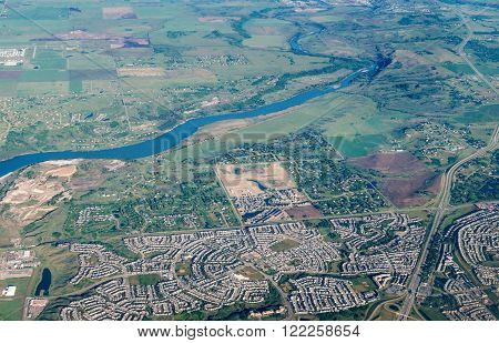 Scenic Aerial View Of City Of Calgary, Canada
