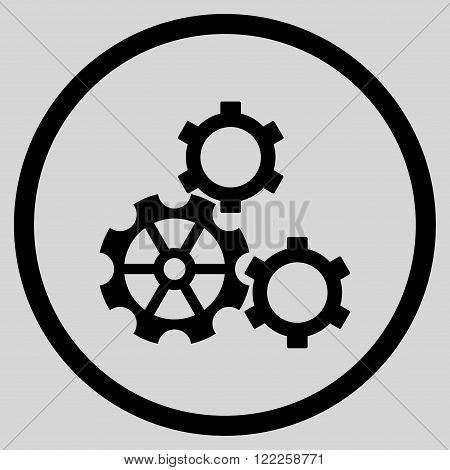 Config vector icon. Picture style is flat gears rounded icon drawn with black color on a light gray background.