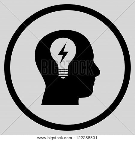 Head Bulb vector icon. Picture style is flat head bulb rounded icon drawn with black color on a light gray background.