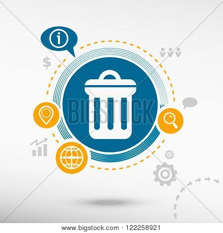 Trash Can Icon  And Creative Design Elements