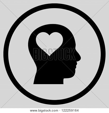Lover Head vector icon. Picture style is flat lover head rounded icon drawn with black color on a light gray background.