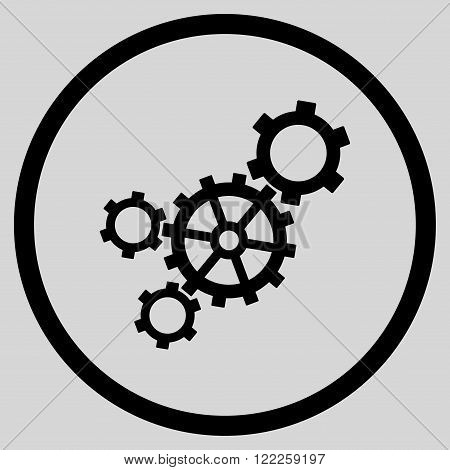 Mechanism vector icon. Picture style is flat mechanism rounded icon drawn with black color on a light gray background.