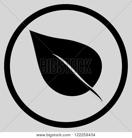 Plant Leaf vector icon. Picture style is flat plant leaf rounded icon drawn with black color on a light gray background.