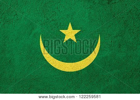 flag of Mauritania or Mauritanian banner on rough pattern background
