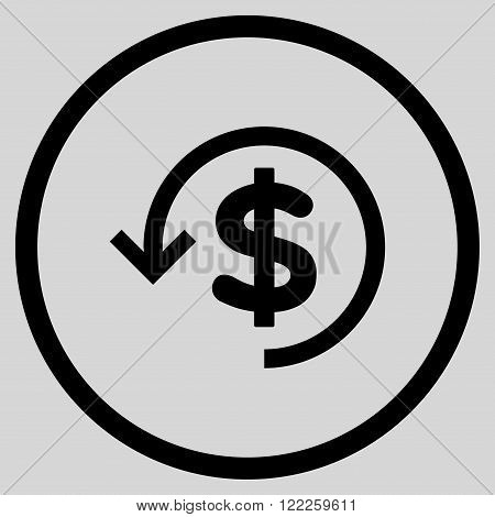 Refund vector icon. Picture style is flat refund rounded icon drawn with black color on a light gray background.