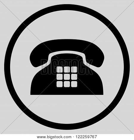 Tone Phone vector icon. Picture style is flat tone phone rounded icon drawn with black color on a light gray background.