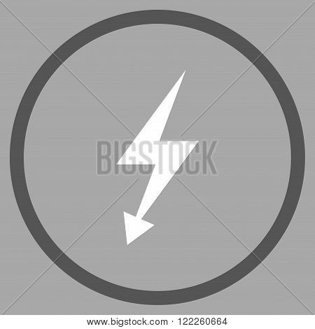 Electrical Strike vector bicolor icon. Picture style is flat electric strike rounded icon drawn with dark gray and white colors on a silver background.