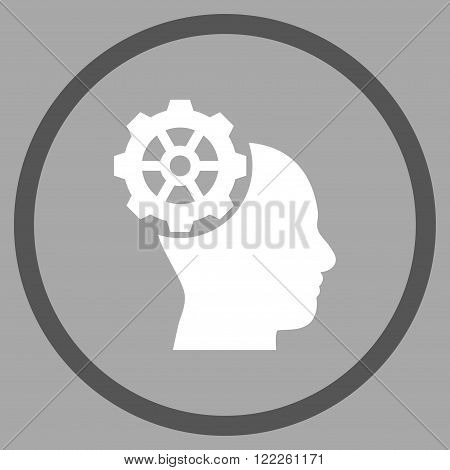Head Gear vector bicolor icon. Picture style is flat head gear rounded icon drawn with dark gray and white colors on a silver background.