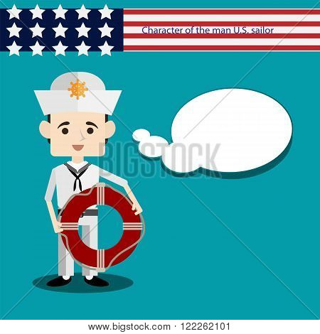 set men European character is a USA sailor with lifeline flat vector portrait of a man with emotion on an isolated background