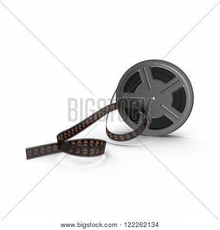3d model of movie film reel on white background