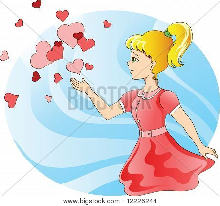 Young Girl And Hearts