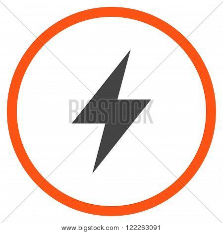 Electric Strike vector bicolor icon. Picture style is flat electric strike rounded icon drawn with orange and gray colors on a white background.