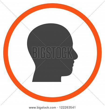 Head Profile vector bicolor icon. Picture style is flat head profile rounded icon drawn with orange and gray colors on a white background.