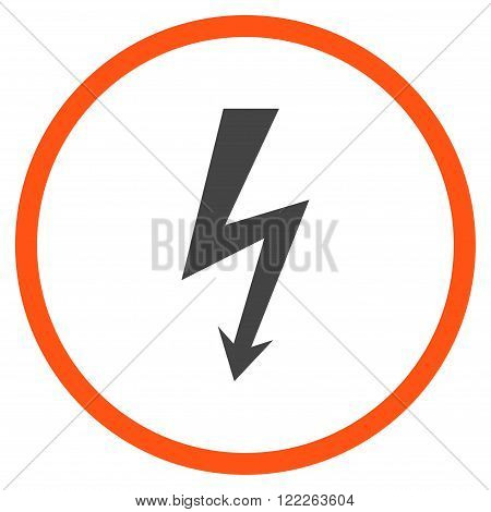 High Voltage vector bicolor icon. Picture style is flat high voltage rounded icon drawn with orange and gray colors on a white background.