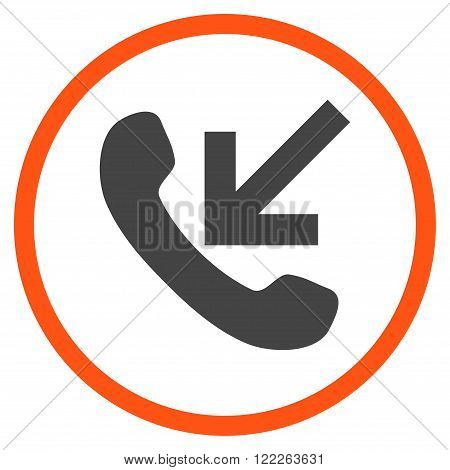 Incoming Call vector bicolor icon. Picture style is flat incoming call rounded icon drawn with orange and gray colors on a white background.