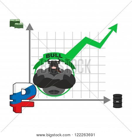 Bull And Graph Growth Of Russian Ruble. Quotations Increase Money In Russia. Infographics For Exchan