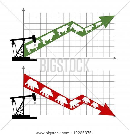 Bull And Bear Market. Rise And Fall Of Oil Quotations. Oil Production. Oil Rig. Green Up Arrow Trade