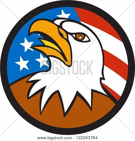 Illustration of an american bald eagle head looking up viewed from side set inside circle with usa flag stars and stripes in the background done in cartoon style.