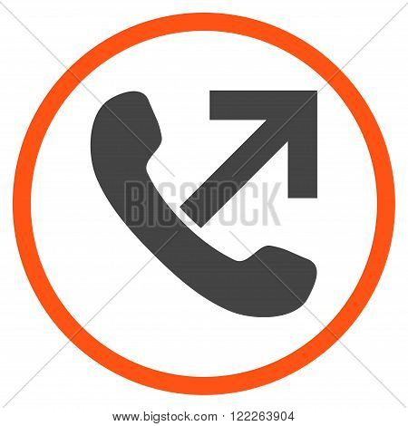 Outgoing Call vector bicolor icon. Picture style is flat outgoing call rounded icon drawn with orange and gray colors on a white background.