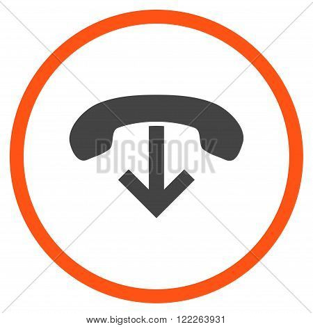 Telephone Hang Up vector bicolor icon. Picture style is flat phone hang up rounded icon drawn with orange and gray colors on a white background.