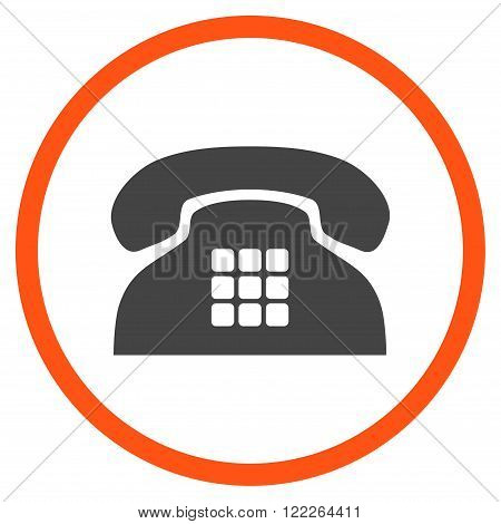 Tone Telephone vector bicolor icon. Picture style is flat tone phone rounded icon drawn with orange and gray colors on a white background.