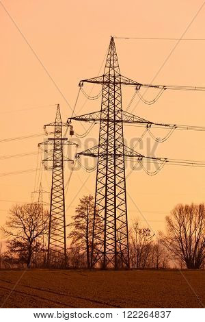 pylons of a power line