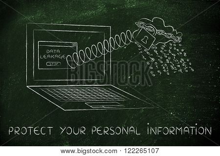 Cloud Raining Binary Code Out Of Laptop, Protect Personal Data