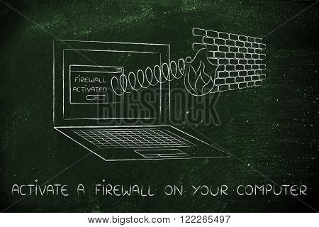 firewall coming out of laptop screen with a spring activate one on your computer