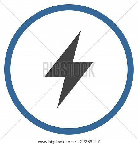 Electrical Strike vector bicolor icon. Picture style is flat electric strike rounded icon drawn with cobalt and gray colors on a white background.
