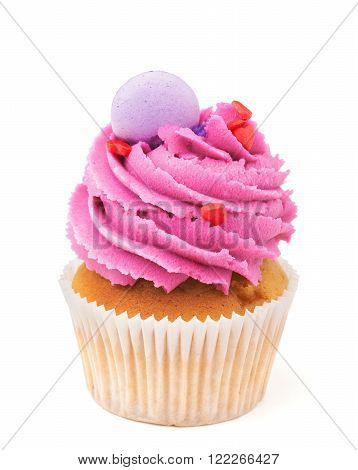 cupcake with pink buttercream isolated on white background