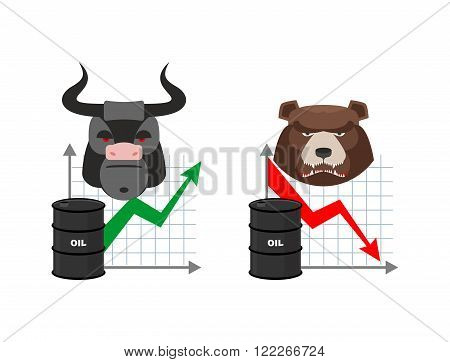 Oil Quotations Increase. Barrel Of Oil Declines. Bull And Bear. Business Graph. Traders In Securitie
